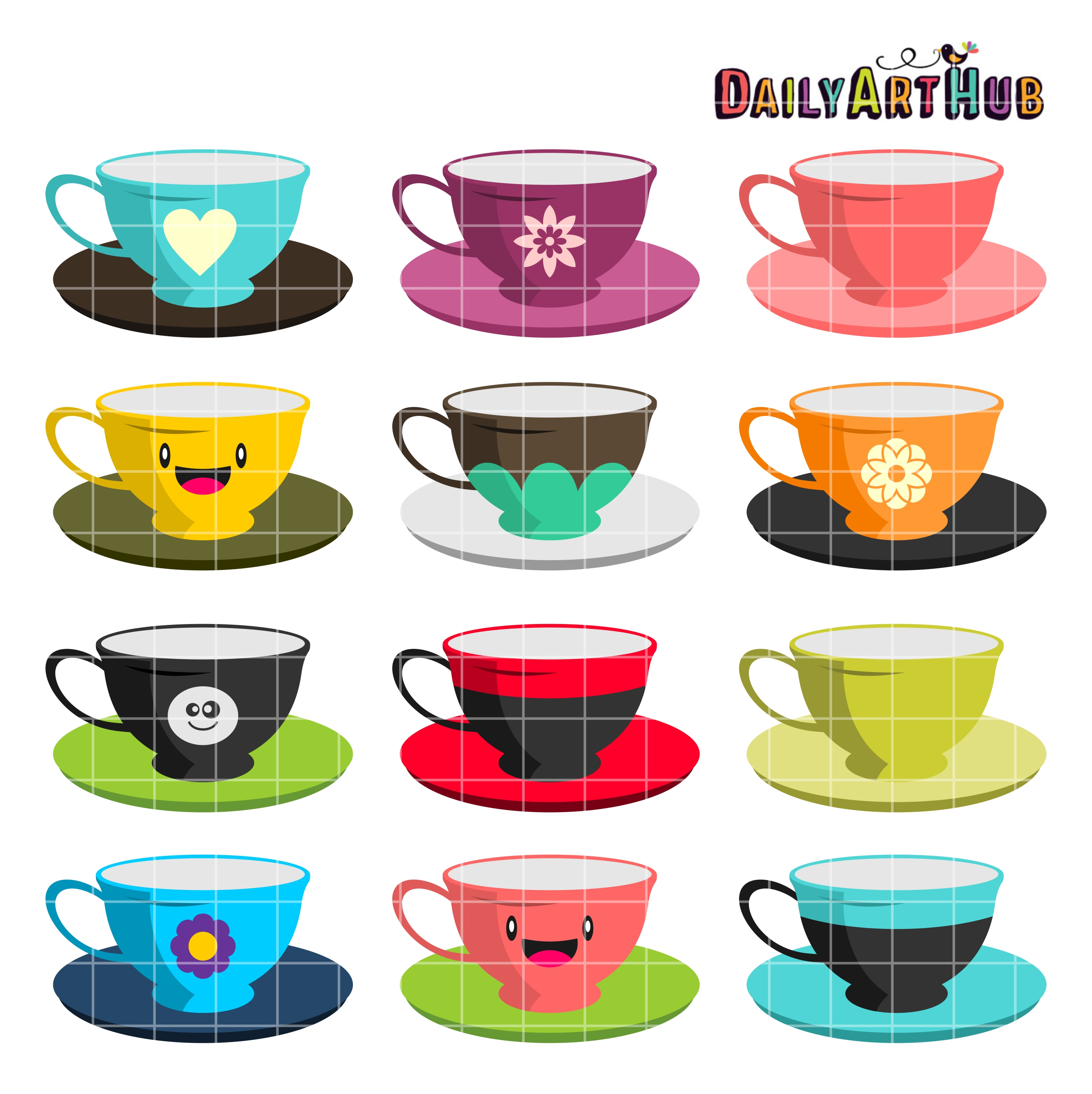 picture download Tea clip art set. Cups clipart.