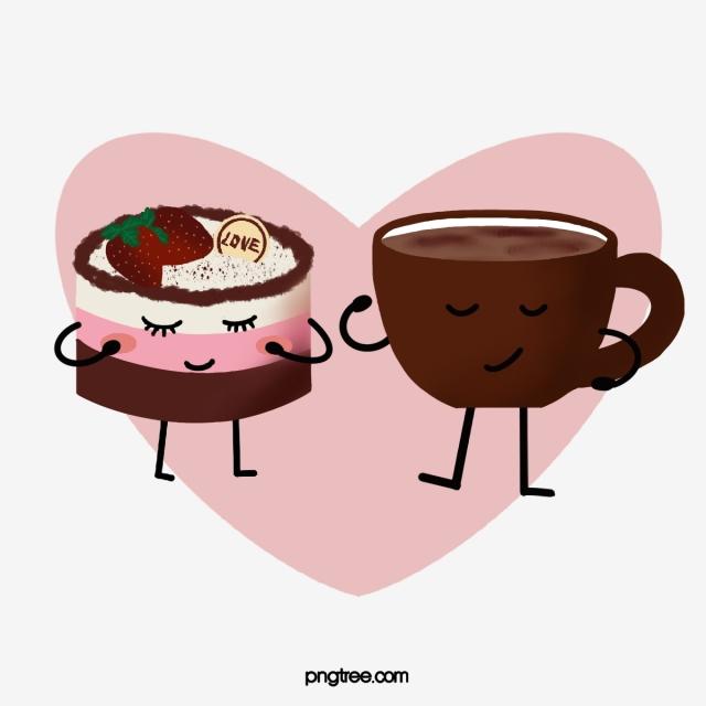 jpg freeuse Coffee cake cartoon food. Cups clipart anthropomorphic.