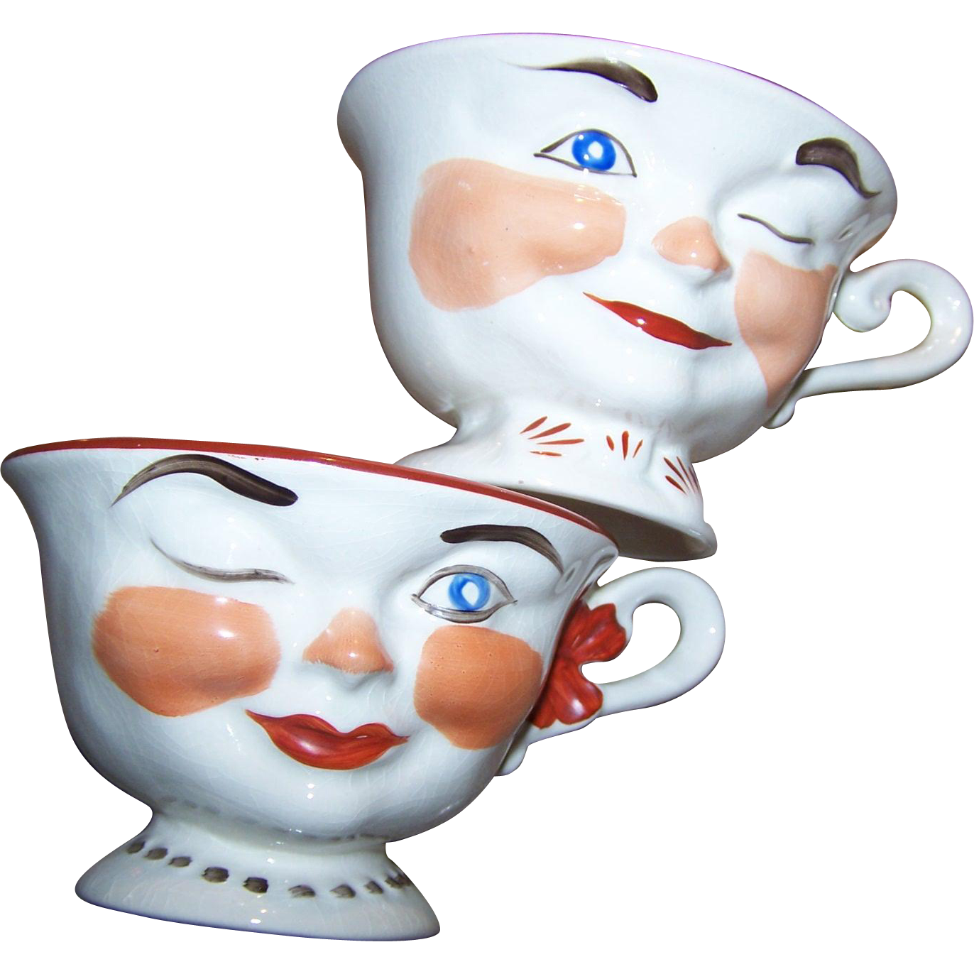 freeuse Cups clipart anthropomorphic. Vintage set pair of.
