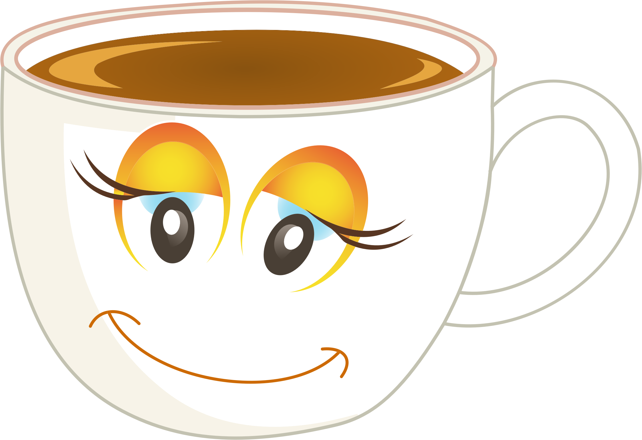 clipart transparent Cups clipart anthropomorphic. Happy female cup of.