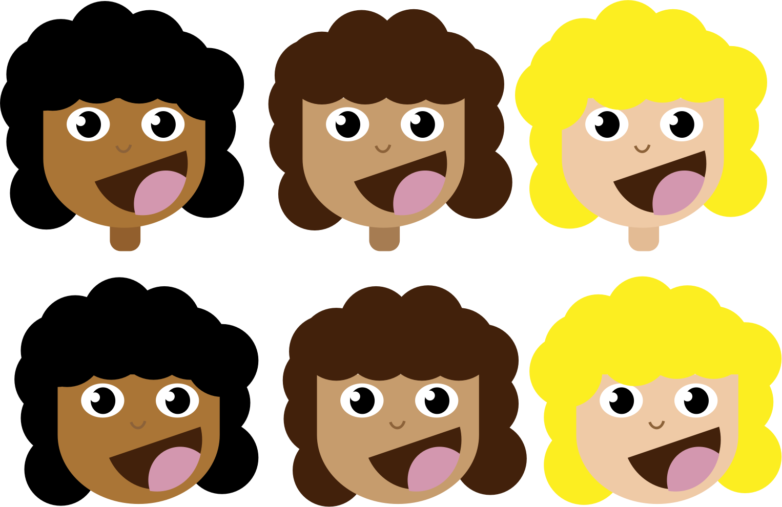 clipart stock Curly clipart. Girls with hair big