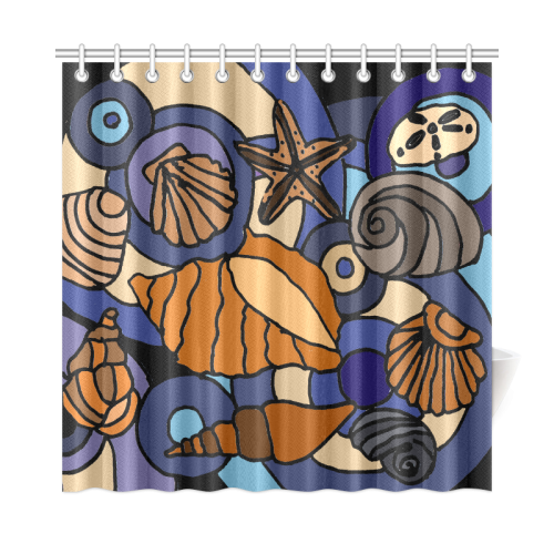png freeuse library Artistic Bluee and Grey Seashells Abstract Art Beach Shower Curtain