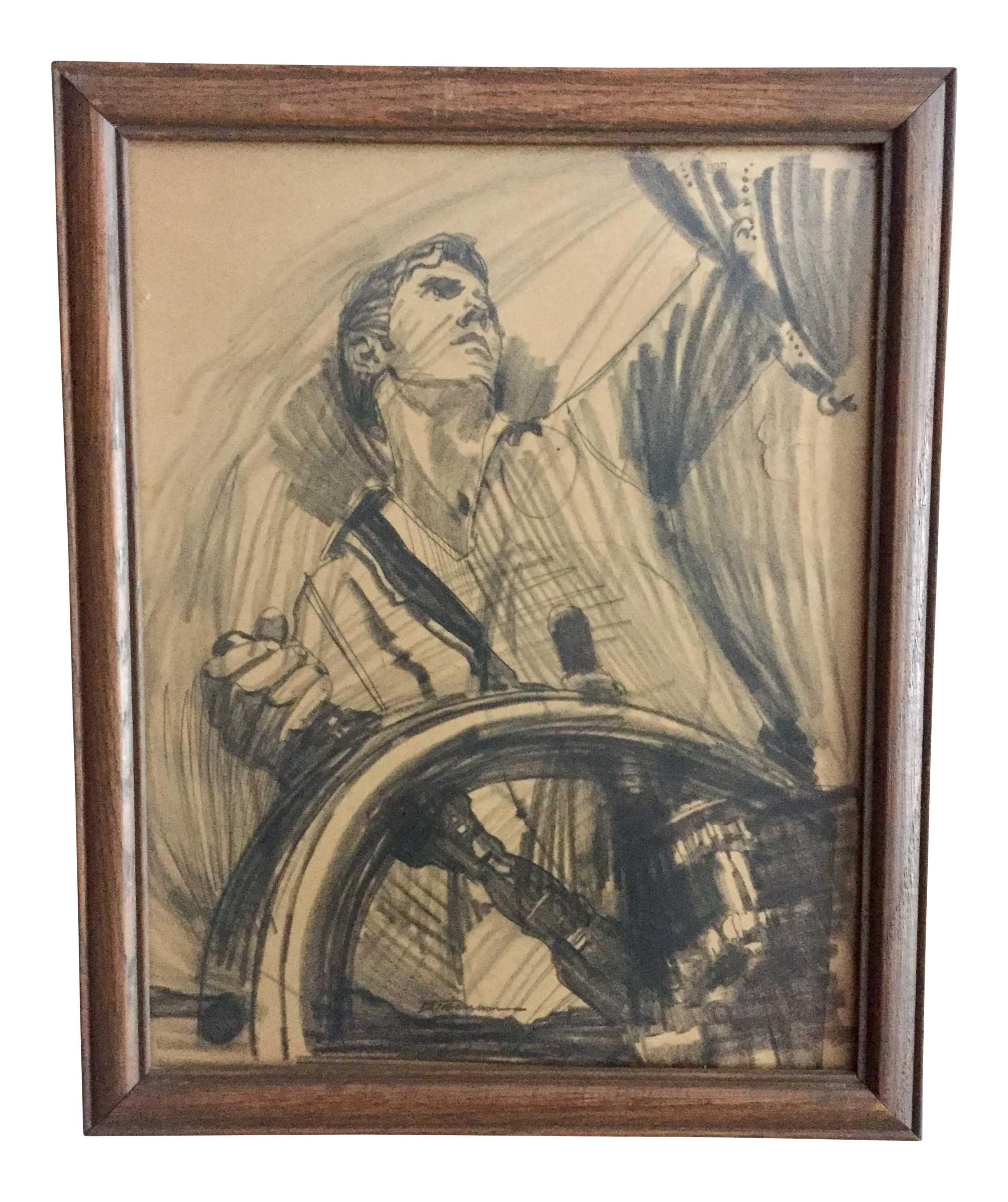 vector free library Mid century young sailor. Drawing charcoal minimalist