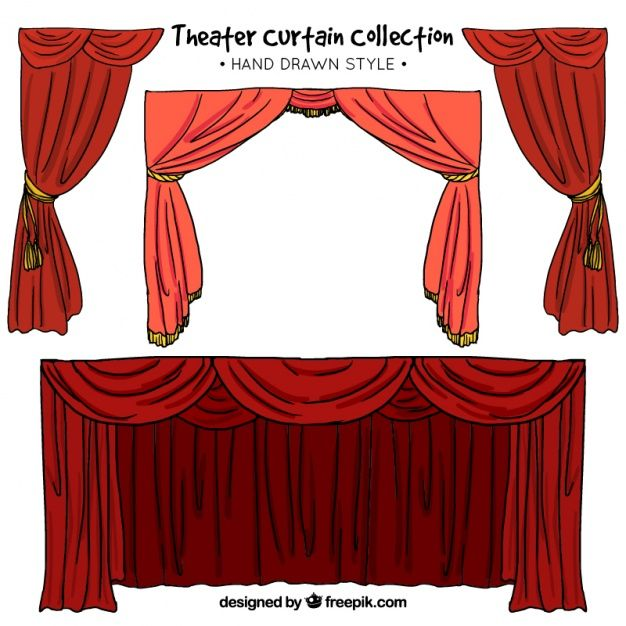 black and white curtain drawing red #133473555