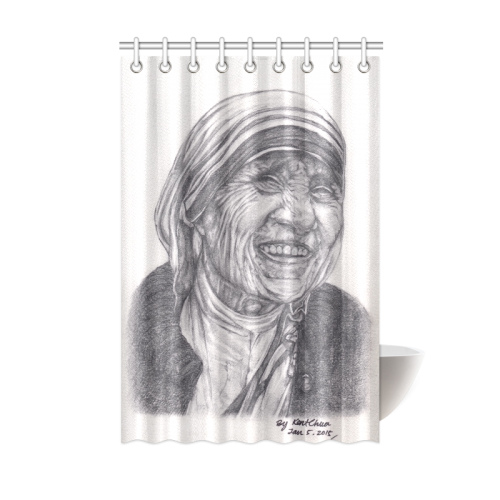 vector transparent library Mother Theresa Drawing Shower Curtain