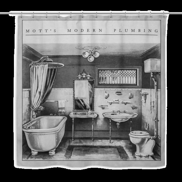 banner library Modern Plumbing Shower Curtain
