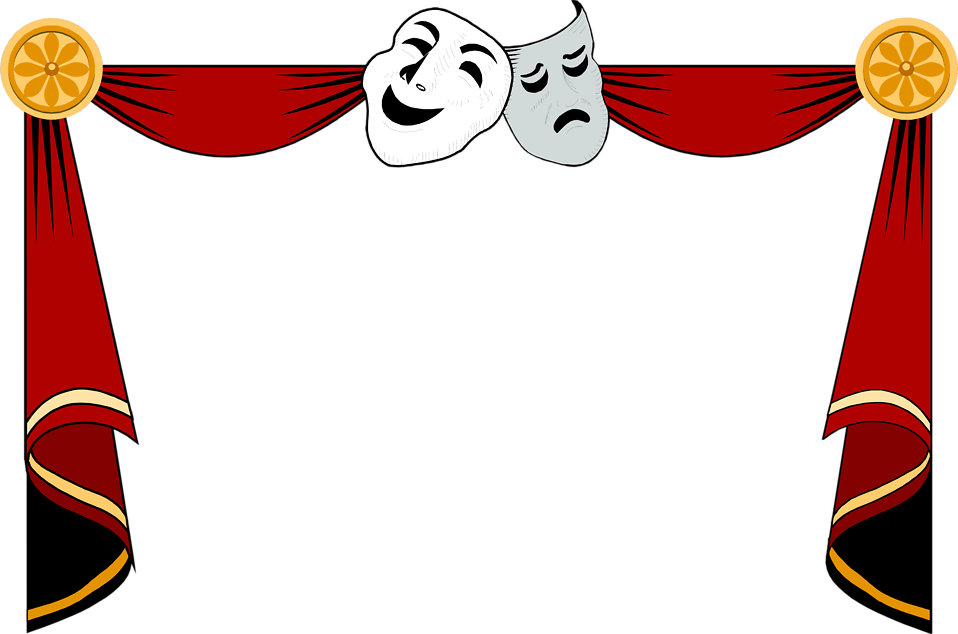 free stock Illustration of a drama masks and curtains frame