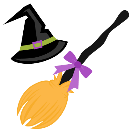 image freeuse library Witch hat and broom. Cut clipart.