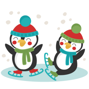image black and white download Cut clipart. Penguins ice skating svg.