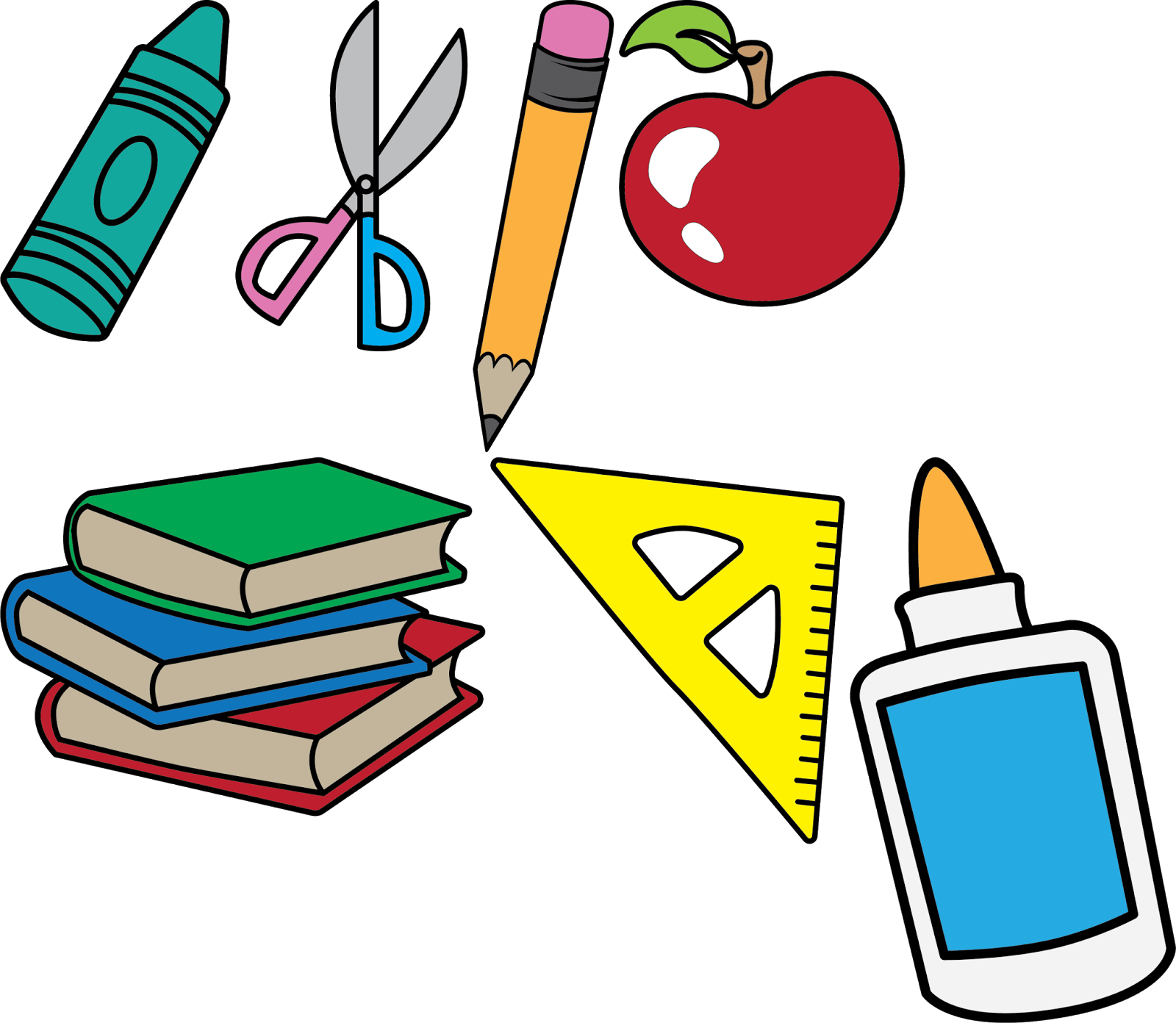 freeuse library Books and apple clipart.  back to school