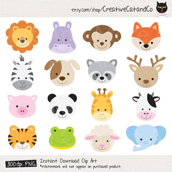 jpg freeuse download Cute animal clipart. Face head baby jungle