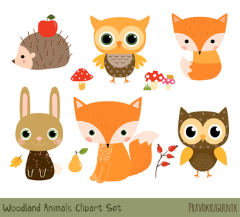 clip free Cute animal clipart. Woodland forest clip art