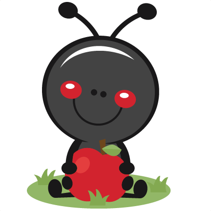 image free Cute ants clipart. Ant with apple svg