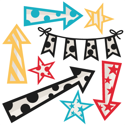 graphic royalty free download Cute arrows clipart. Stars and banner set.
