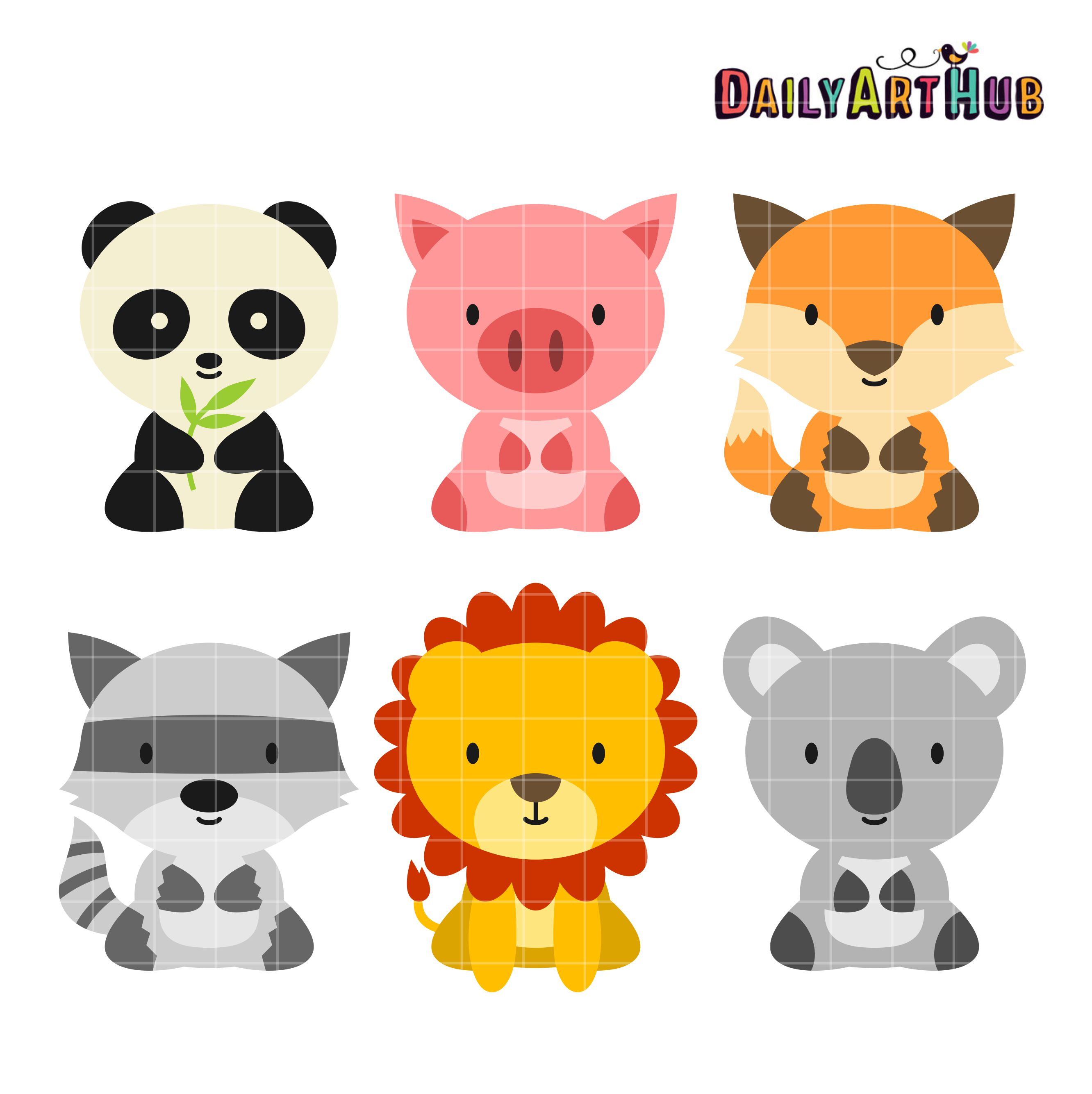 clip black and white library Animal picture clipart. Baby animals clip art