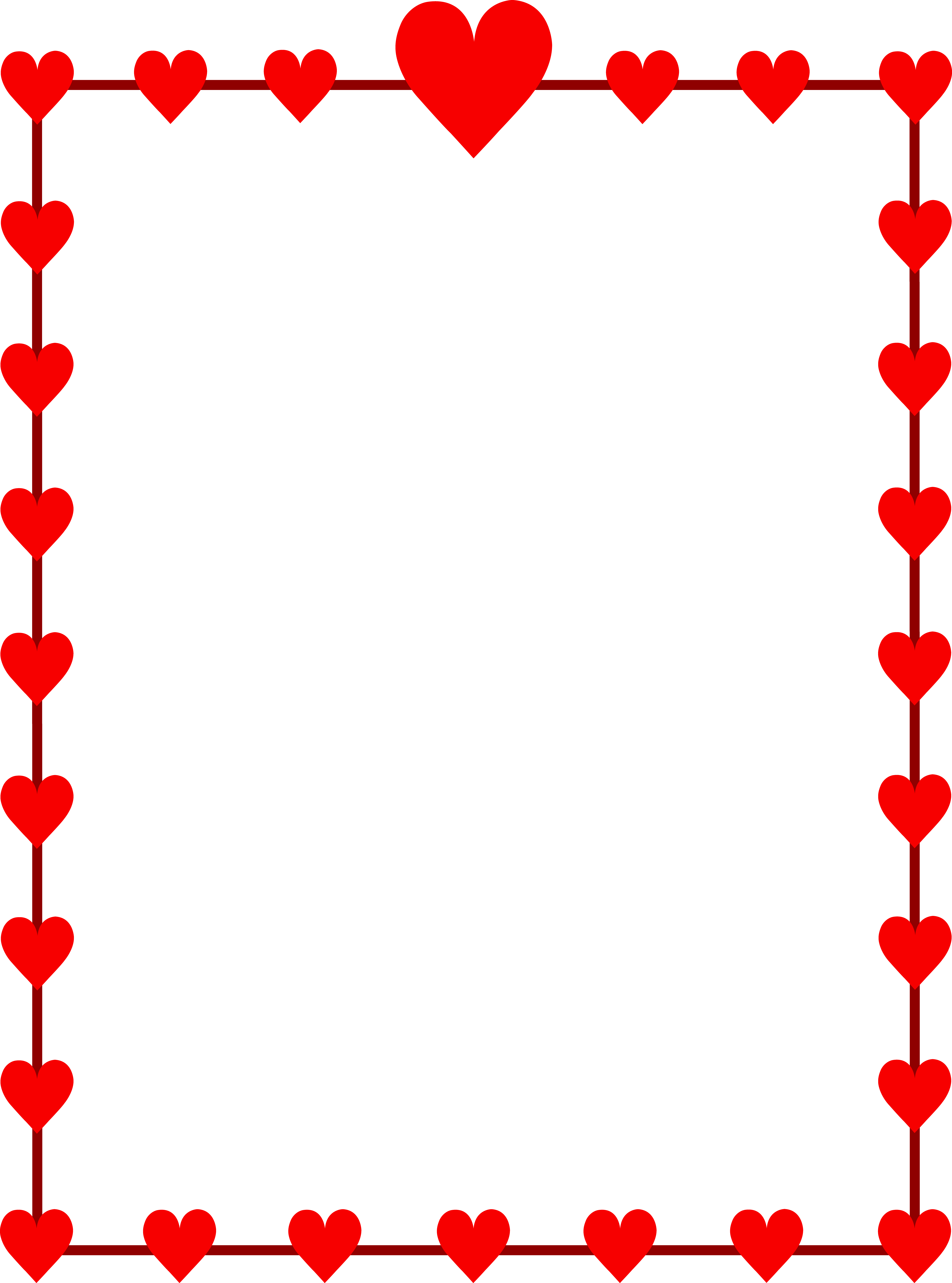 clip freeuse Red hearts border frame. Free holiday clipart borders.