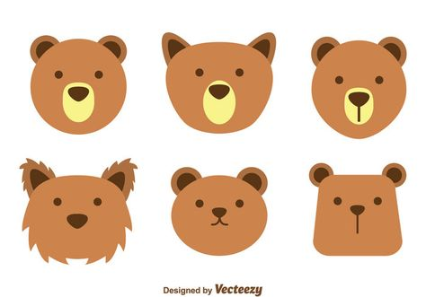 library Cute brown bear clipart. Face vectors icon drawing