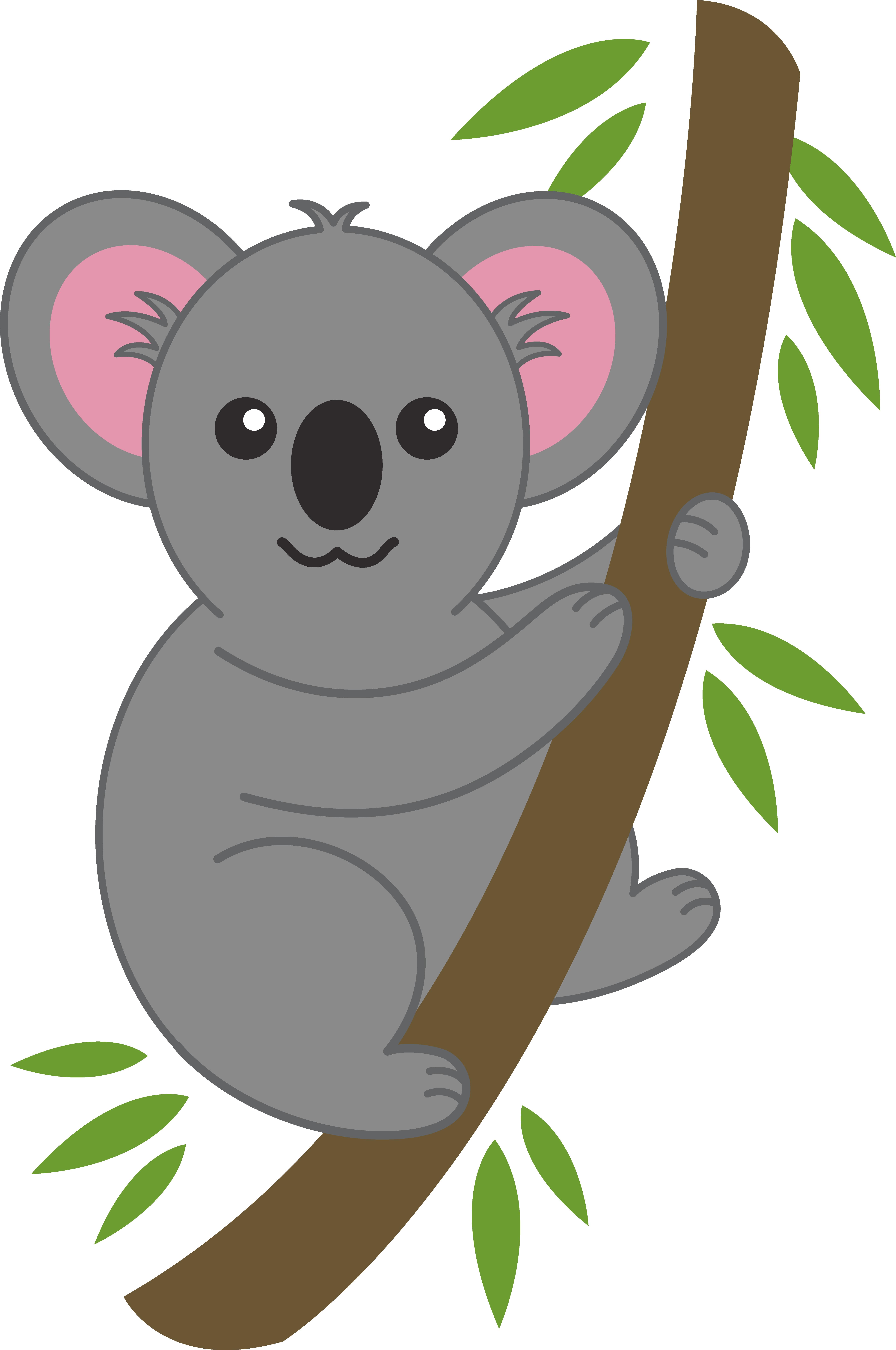 clip art black and white Koala clipart. Cute on tree branch