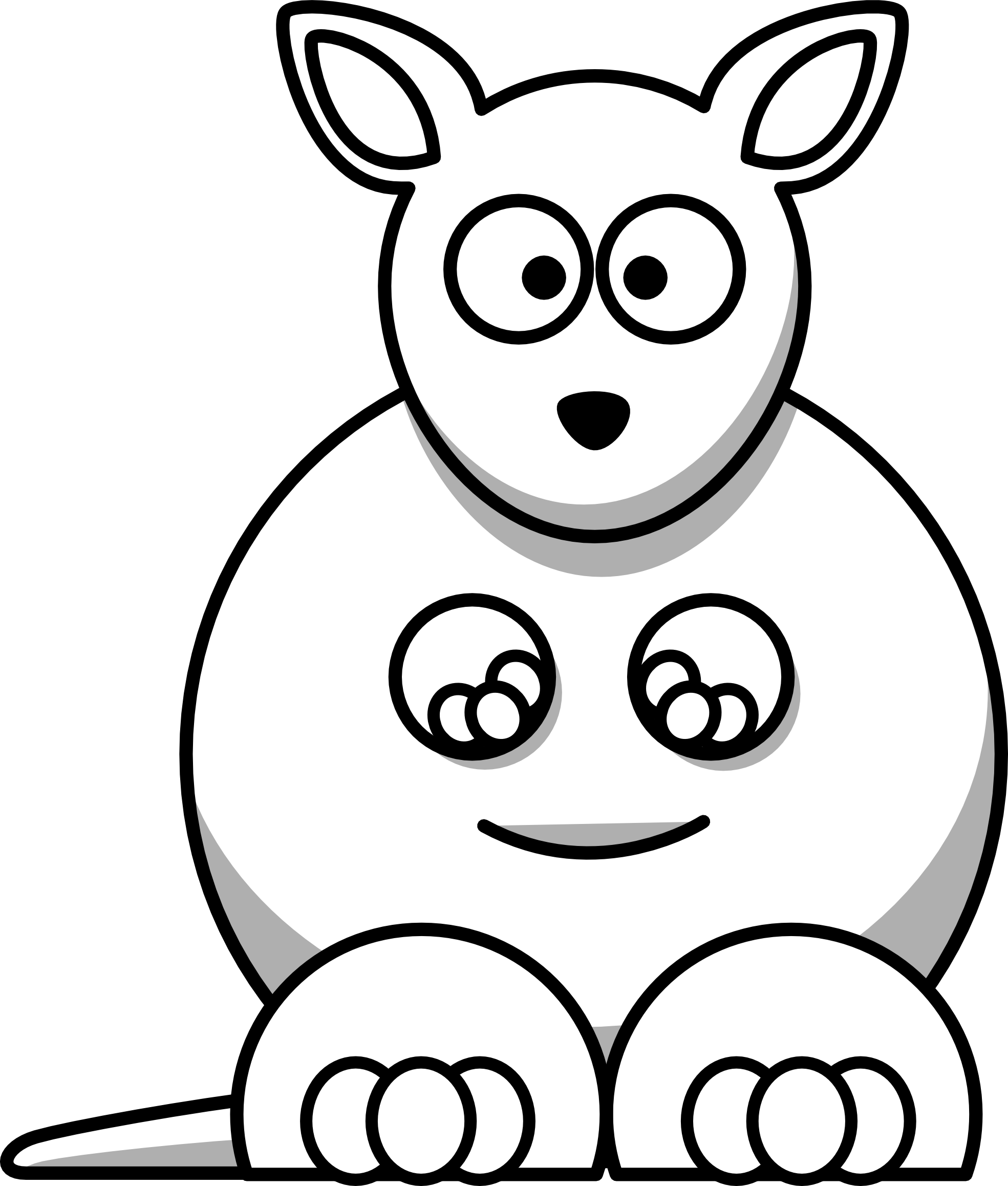 clipart freeuse library Baby animal clipart black and white. Cute animak cuddling