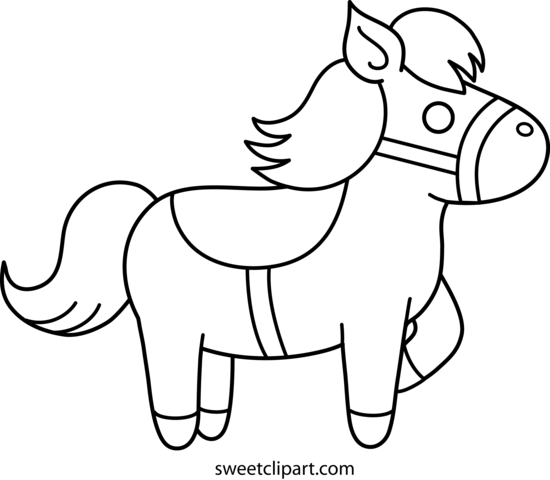 picture black and white library Pony clipart black and white. Cute coloring page free