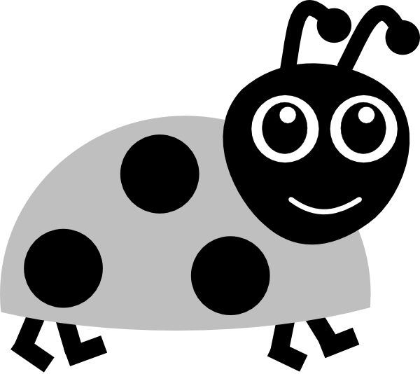 clipart library download Grey clip art at. Cute ladybug clipart black and white