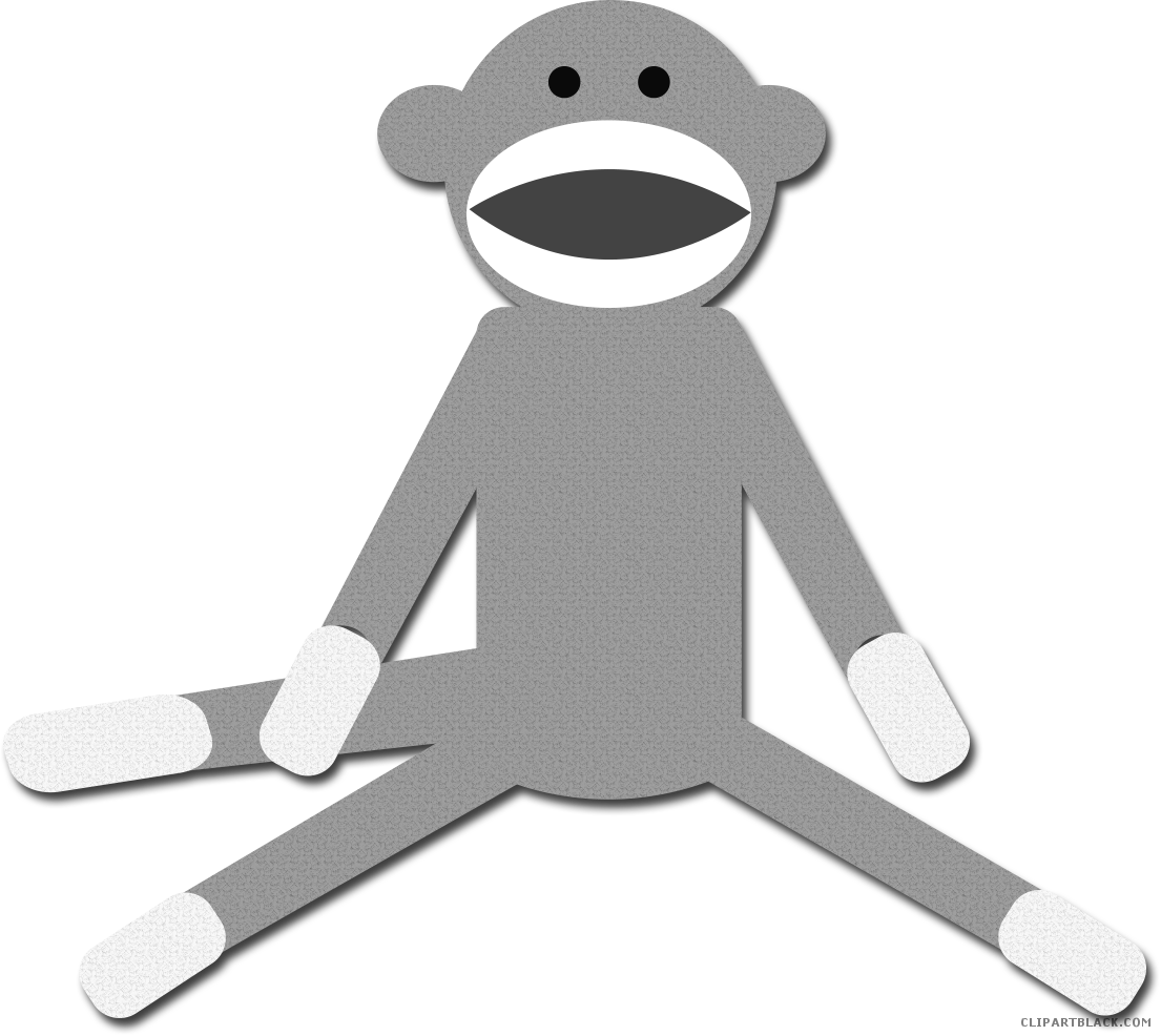 graphic freeuse stock Cute monkey clipart black and white. Clipartblack com animal free