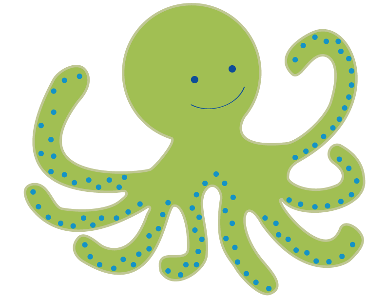 library Cute Octopus Clipart
