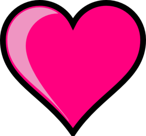 vector black and white library Cute pink heart. Clip art at clker
