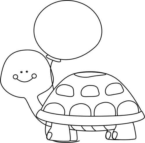 banner library library Black and White Turtle with Balloon Clip Art