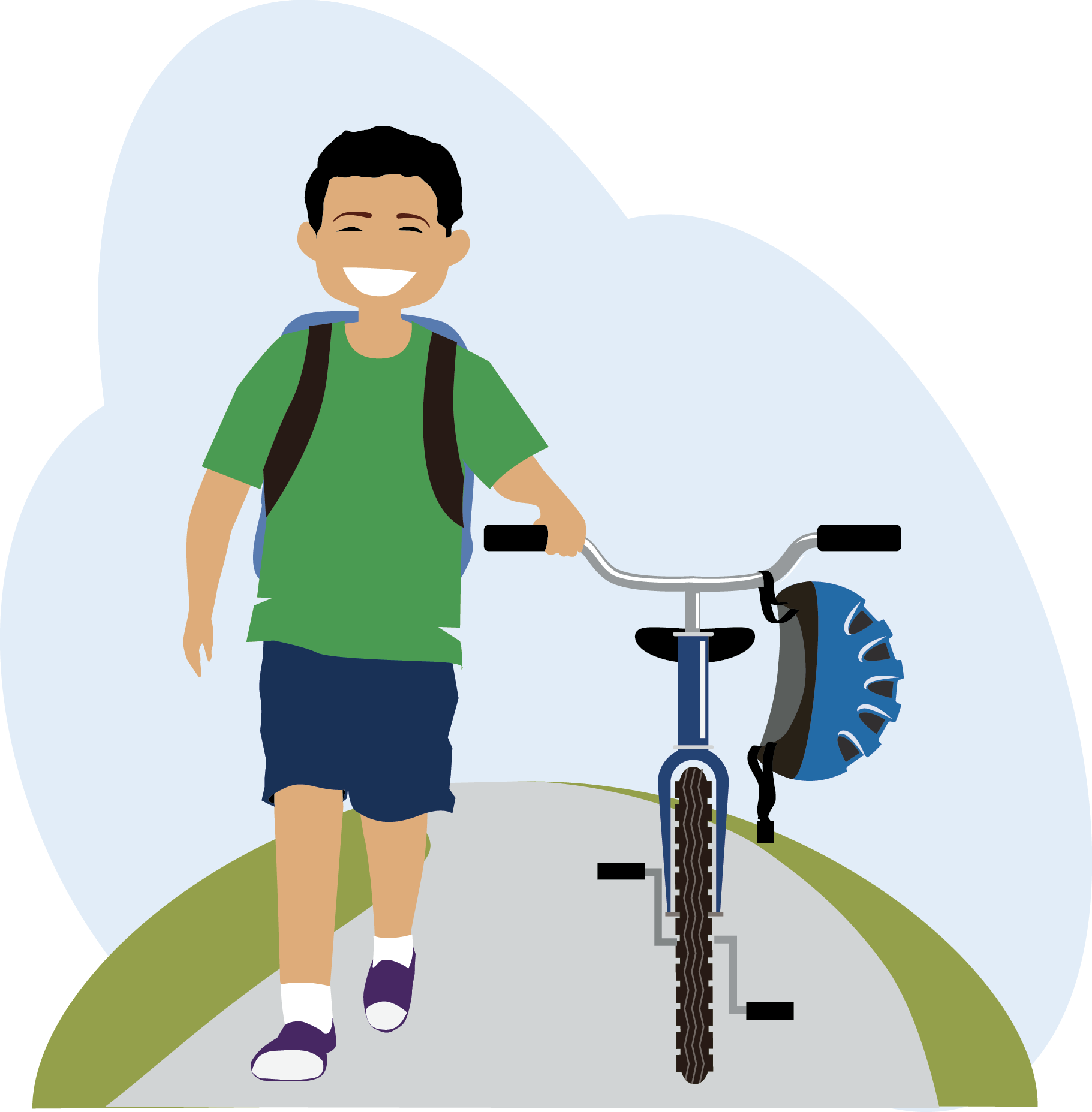 clipart library library Cycling safe free on. Kid walking clipart