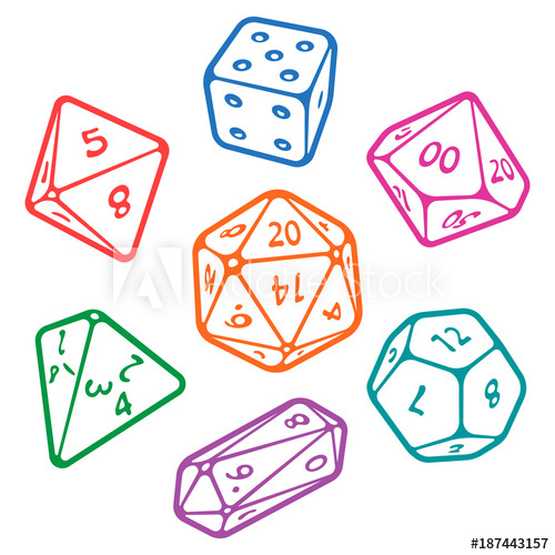 vector D20 clipart rpg dice. Vector icon set of