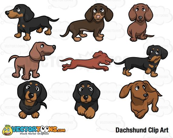 clip black and white library Clip art digital graphics. Dachshund clipart