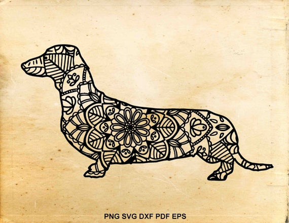 jpg library download Zentangle dachshund svg