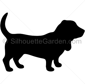 black and white Basset hound silhouette clip art