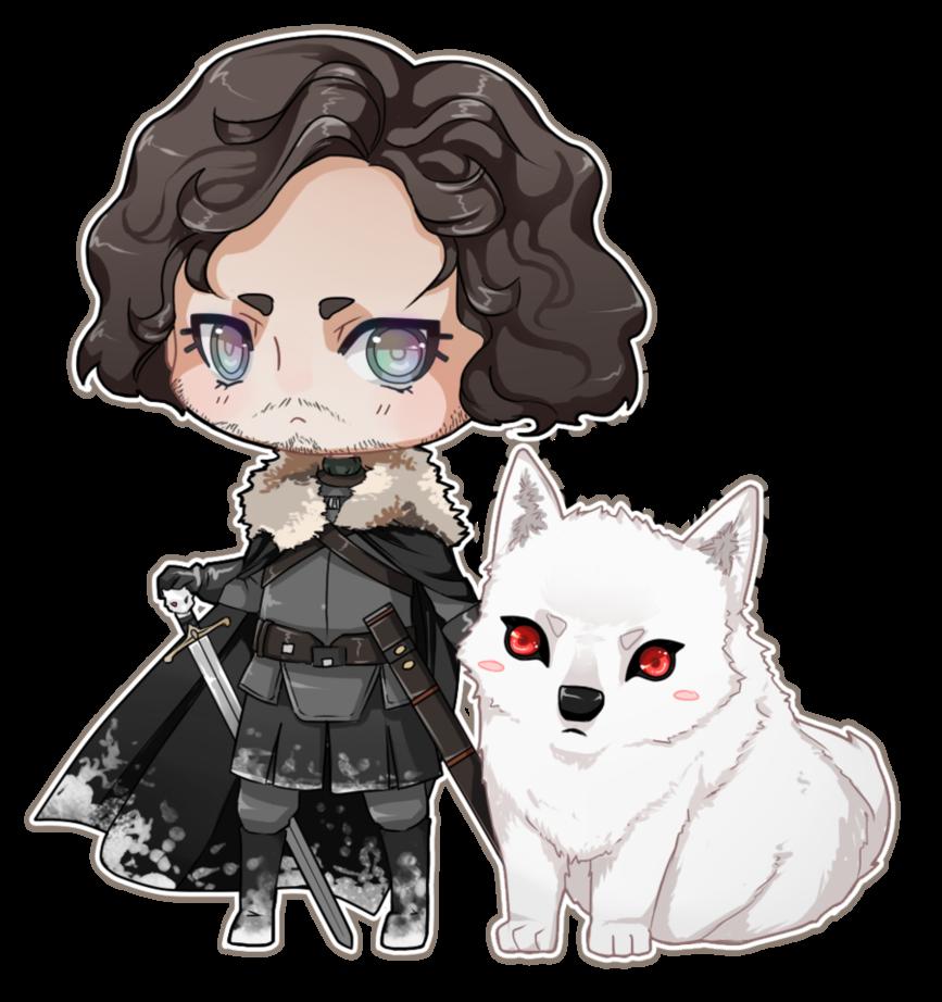 svg royalty free Jon Snow and Ghost by kitsuneha on DeviantArt