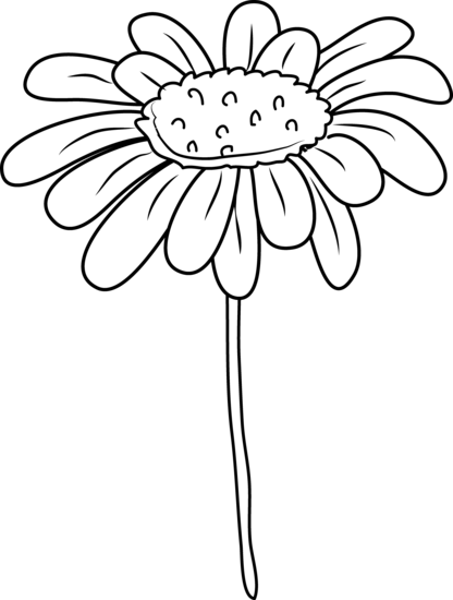 png library download Daisy clipart. Flower coloring page free.