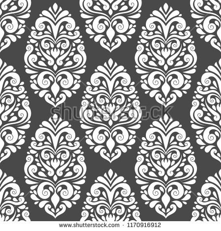 jpg royalty free stock Black and white damask vector seamless pattern