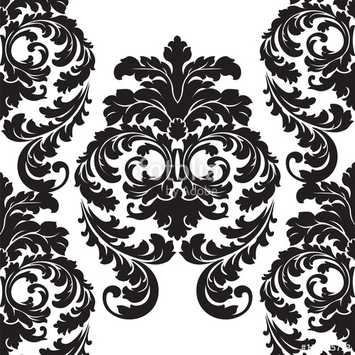 banner transparent stock Vector floral damask pattern background