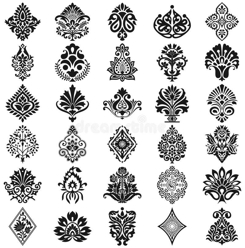 graphic transparent stock Download Damask floral pattern set stock vector