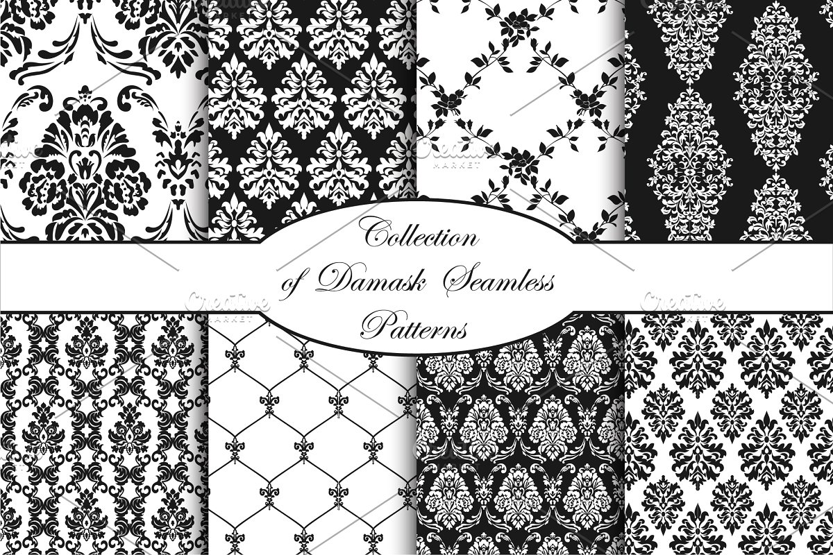 clip library stock Damask vector seamless patterns