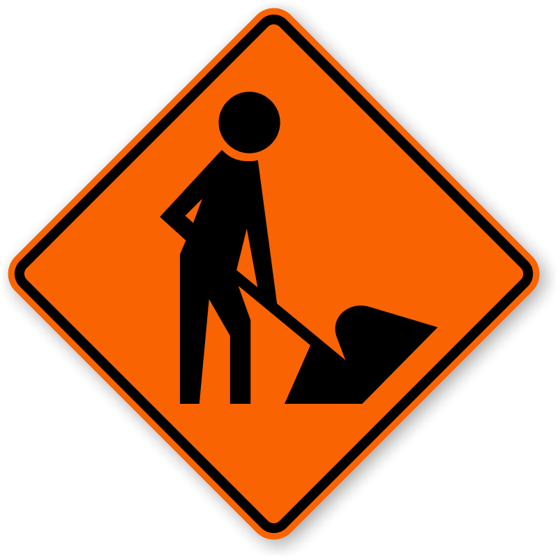 picture black and white stock Men at signs zoom. Danger clipart road work sign