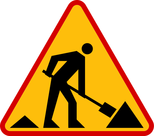 clipart free stock Construction ahead. Danger clipart road work sign