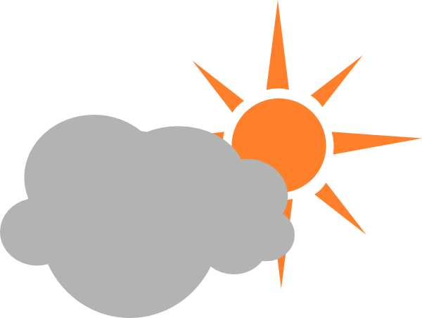 clip black and white Weather symbol semicloudy day. Partly sunny clipart