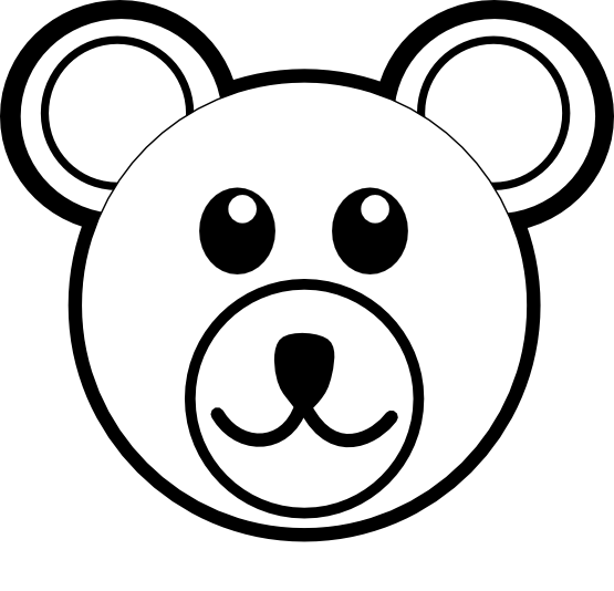 free library Daycare clipart black and white. Bear head brown line