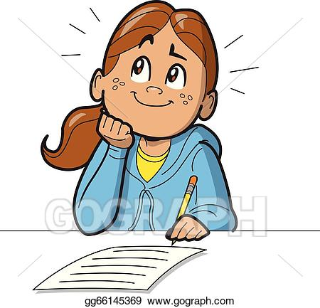 graphic royalty free stock Writer clipart testing. Clip art vector schoolgirl