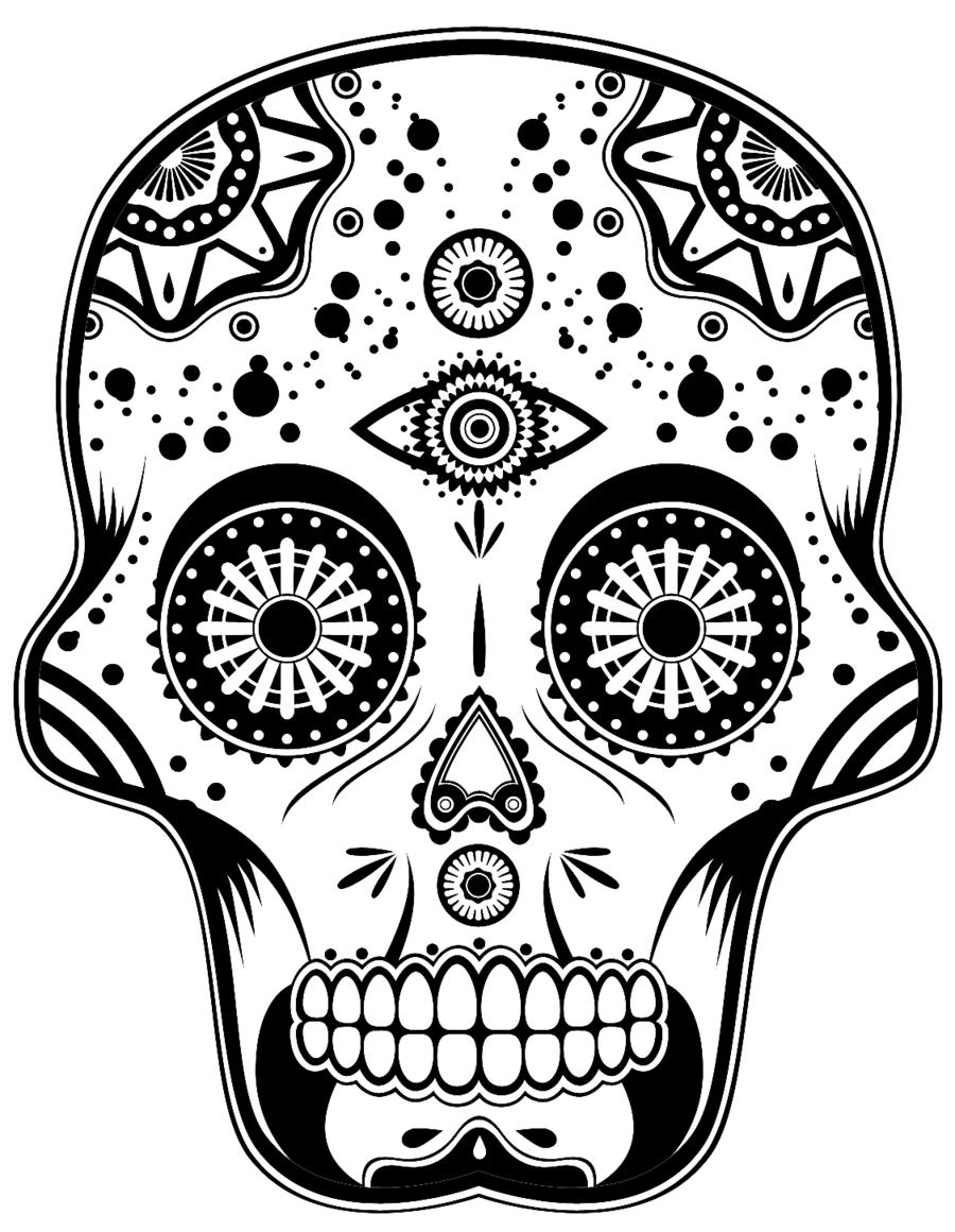 png black and white Day of the Dead