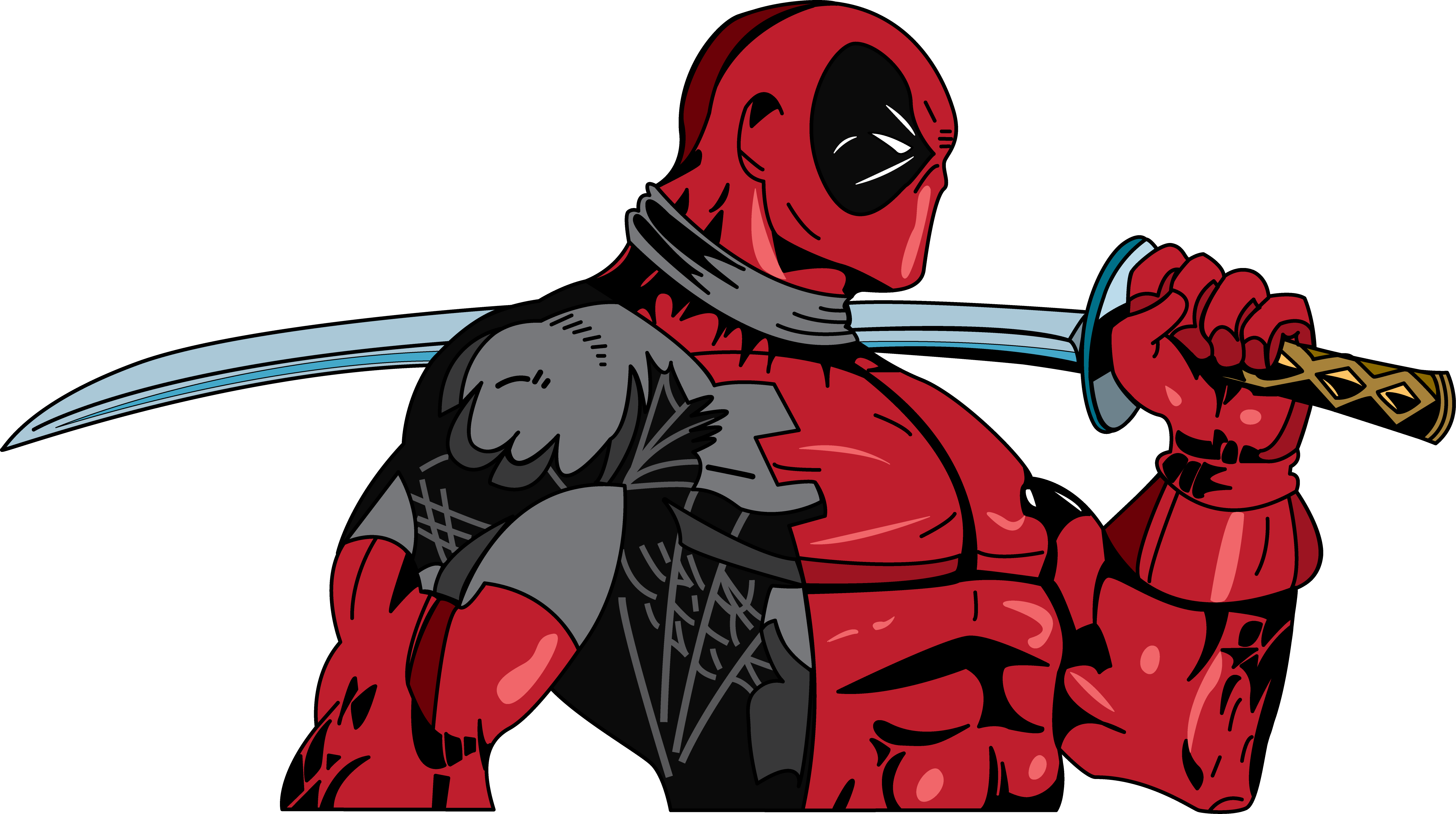 vector black and white stock Deadpool Cable Comic book Marvel Comics