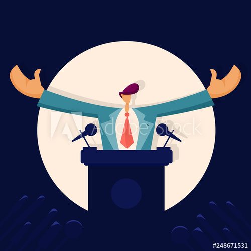 vector transparent library Politician speaking to audience. Debate clipart political man