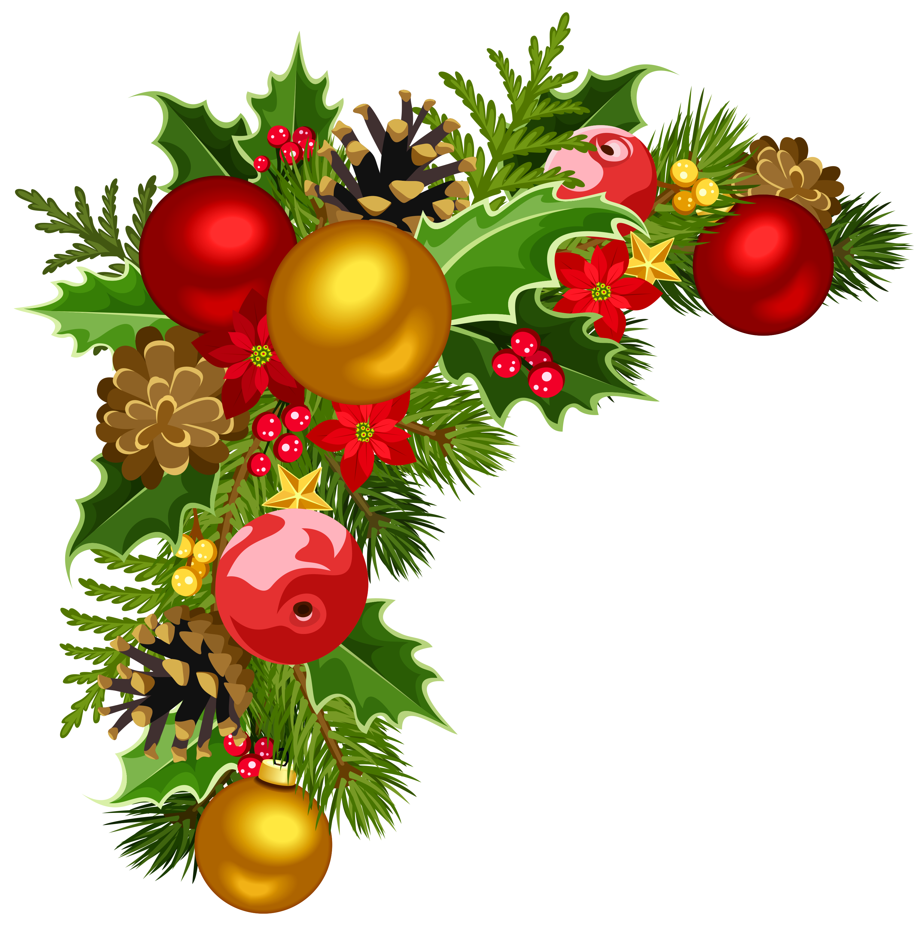 jpg Christmas clipart corner borders. Deco with tree decorations