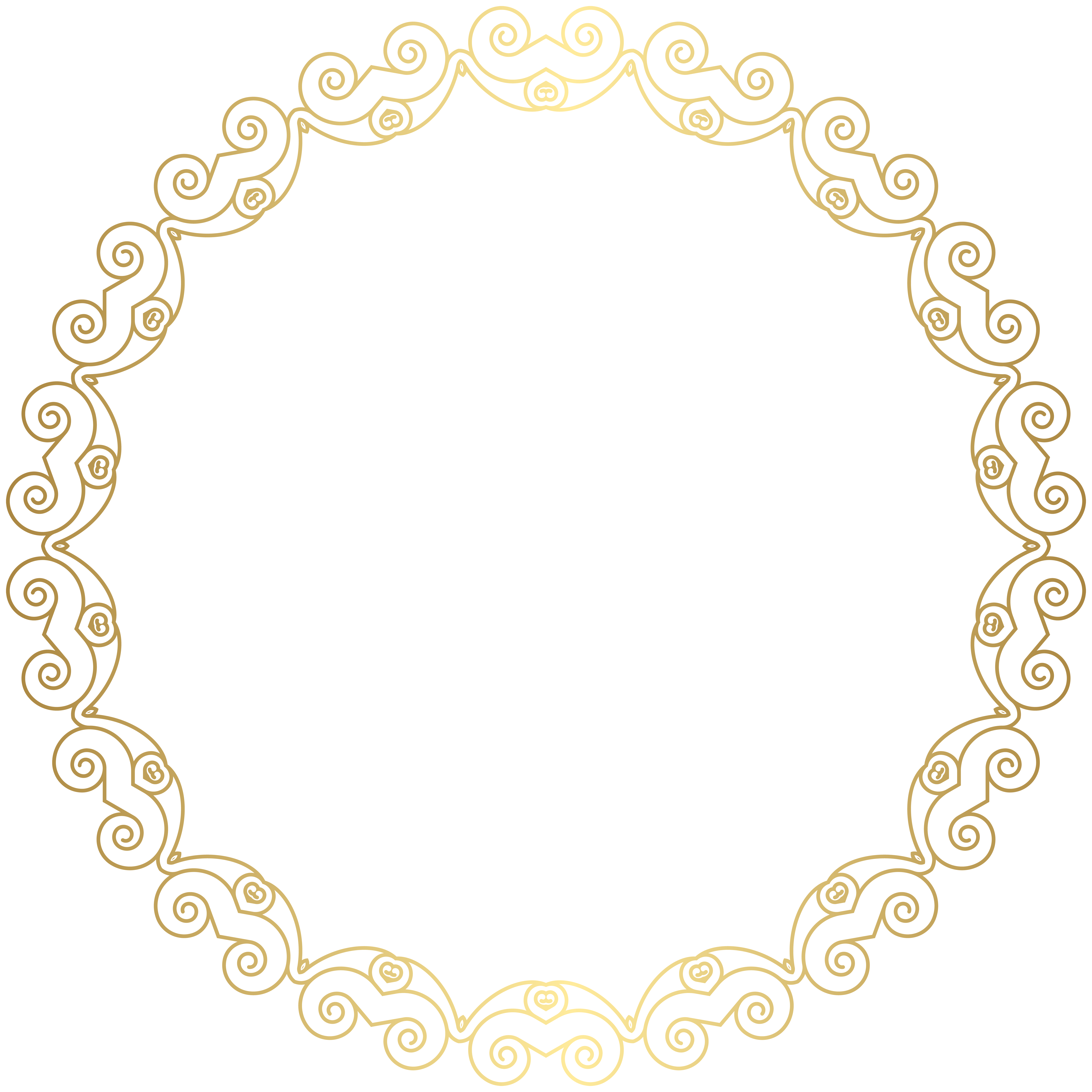 svg royalty free Round Deco Golden Border Frame PNG Clip Art